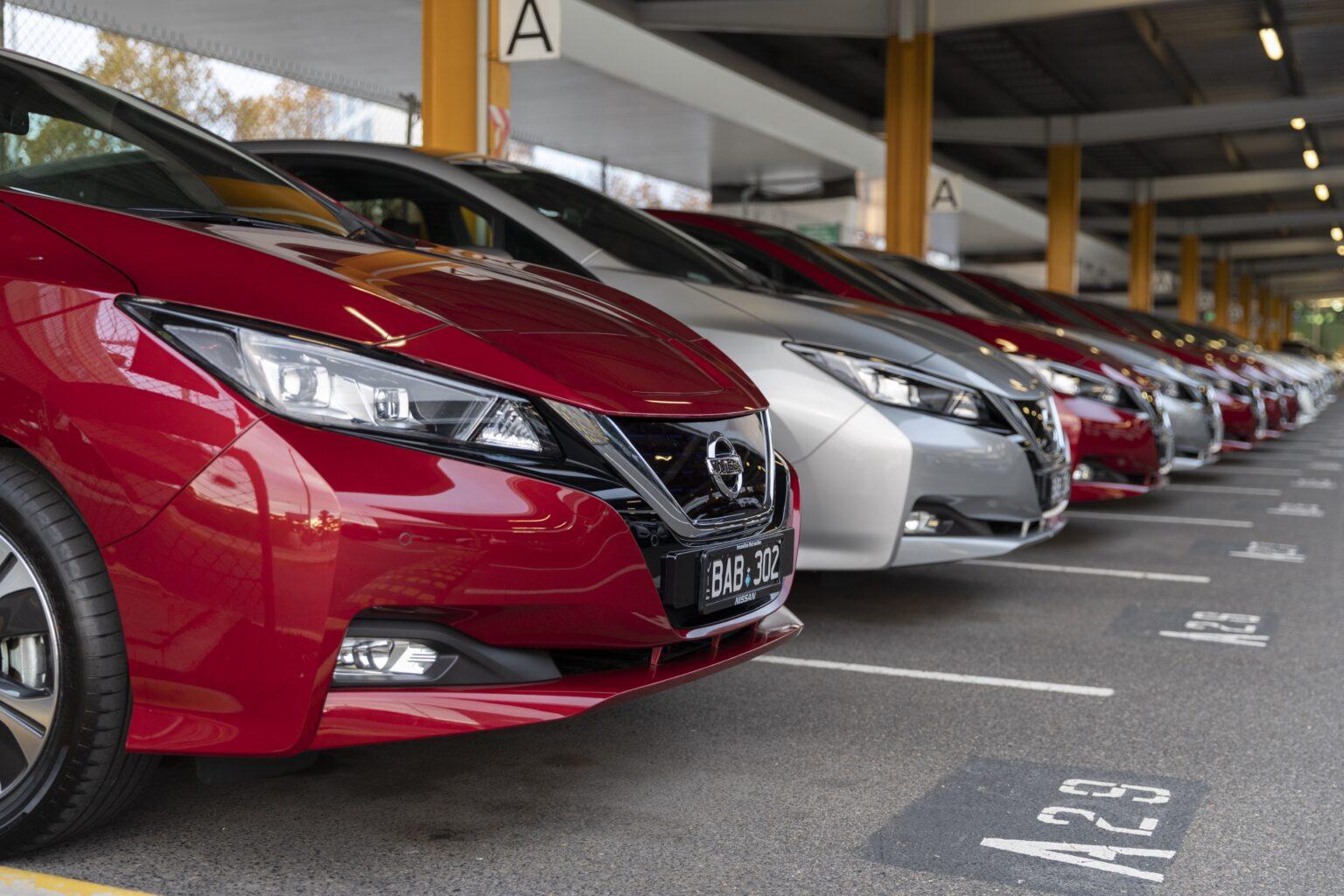 Row of Nissan Leaf cars