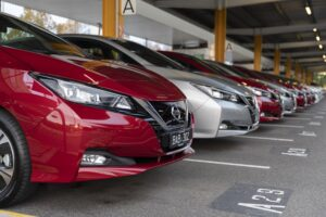 Row of Nissan Leaf cars