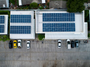 Rooftop solar and cars in parking lot